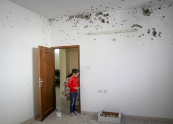 Palestinians check the damage in the room of the house after an armed clash with Israeli forces in the home of Mohamed Kandil required Israeli army in the Askar refugee camp near Nablus, the Israeli army said three Palestinians were arrested during the military operation. November 15, 2016. Photo by Nasser Ishtayeh/Flash90 *** Local Caption *** ????????? ???? ?????? ??? ?????? ????? ???? ??? ?????? ??????