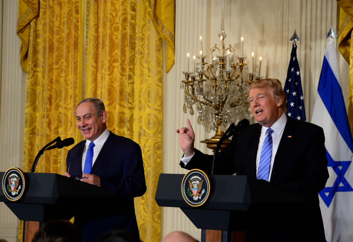 Prime Minister Benjamin Netanyahu and US President Donald Trump seen during a joint press conference at the White House in Washington, D.C., February 15, 2017. Photo by Avi Ohayon/GPO *** Local Caption *** ???? ?????? ?????? ????? ????? ????? ?????? ????? ????? ???? ????? ?????