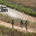 Israeli army jeeps patrol along the Northern Israeli border with Lebanon on July 14, 2014. Code Red siren, warning of incoming rocket, was heard earlier this evening when a  rocket fired from Syria, hit the Golan Heights, Northern Israel. The rocket hit an open area in the Golan Heights. Photo by Ayal Margolin/FLASH90    *** Local Caption *** ???? ??? ?? ???? ?????  ?????? ????