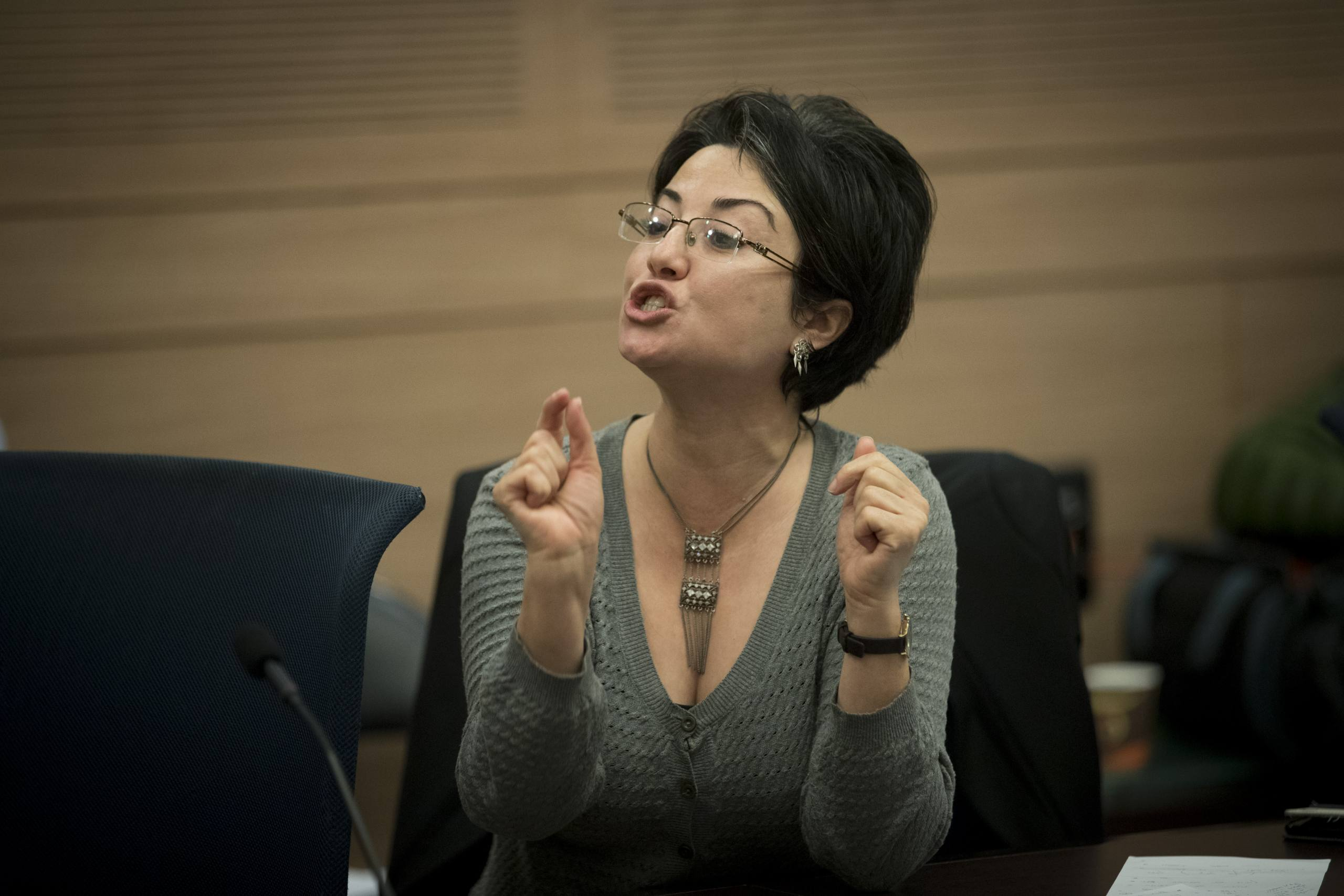 Joint List parliament member Hanin Zoabi attends Education, Culture, and Sports Committee meeting in the Israeli parliament on December 13, 2016. Photo by Yonatan Sindel/Flash90 *** Local Caption *** ועדת חינוך כנסת ירושלים חנין זועבי