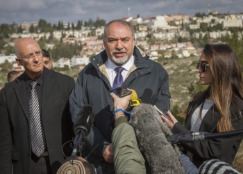 Israeli minister of Defense Avigdor speaks with the press during his visit in the West Bank settlement of Ariel on February 1, 2017. Photo by Flash90 *** Local Caption *** ????? ????? ??????? ?????? ?? ???????