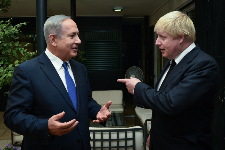 Prime Minister Benjamin Netanyahu meets with British Foreign Minister Boris Johnson at the Prime Minister's House in Jerusalem on September 30, 2016. Photo by Kobi Gideon / GPO *** Local Caption *** ??? ?????? ?????? ?????? ???? ?? ?? ???? ?????? ????? ?'????? ????? ??? ?????? ????????