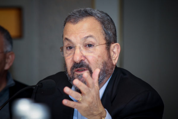 Former Israeli prime minister and Defence minster Ehud Barak speaks at a launching event of the Reporty App in Tel Aviv, March 16, 2016. Photo by Flash90 *** Local Caption *** àäåã áø÷ ùø áéèçåï ìùòáø ëìëìä àéøåò äù÷ä àôìé÷öéä