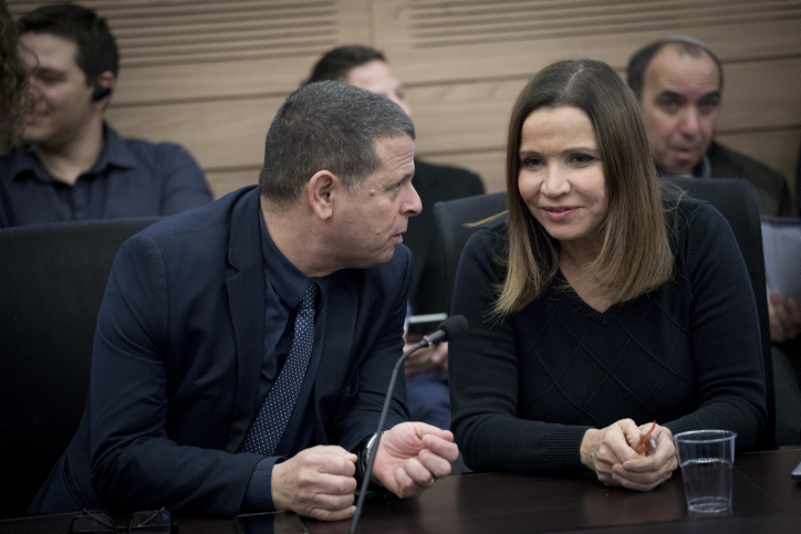 Zionist Camp party members Shelly Yachimovich (R) and Eitan Cabel attend at a faction meeting in the Israeli parliament on February 6, 2016. Photo by Yonatan Sindel/Flash90 *** Local Caption *** ????? ???? ???? ??? ???????? ??? ????????' ???? ???