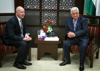 "Palestinian president Mahmoud Abbas (R) meets with Jason Greenblatt, Donald Trump special representative for international negotiations in the West Bank city of Ramallah, March 14, 2017. Photo by Flash90 *** Local Caption *** ??? ???? ????? ???? ???? ???????? ???? ?????? ?? ???? ???""?  ??? ???? ???""? ?'????? ???????"