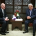 """Palestinian president Mahmoud Abbas (R) meets with Jason Greenblatt, Donald Trump special representative for international negotiations in the West Bank city of Ramallah, March 14, 2017. Photo by Flash90 *** Local Caption *** ??? ???? ????? ???? ???? ???????? ???? ?????? ?? ???? ???""""?  ??? ???? ???""""? ?'????? ???????"""