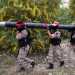 Palestinian militants show a home-made rocket during an anti-Israel joint drill by National Resistance Brigades and Abdel Qader al Husseini Brigades in Khan Younis in the southern Gaza Strip, on March 25, 2016. Photo by Abed Rahim Khatib/ Flash90    *** Local Caption *** ????? ?????? ??? ????? ??????? ??? ????