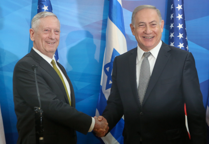 Israeli Prime Minister Benjamin Netanyau (R) and US Secretary of Defense Jim Mattis hold a joint press conference at the Prime Minister office in Jerusalem on April 21, 2017. Photo by Marc Israel Sellem/POOL  *** Local Caption *** ????? ????? ??? ?????? ?????? ?????? ?'???? ?????