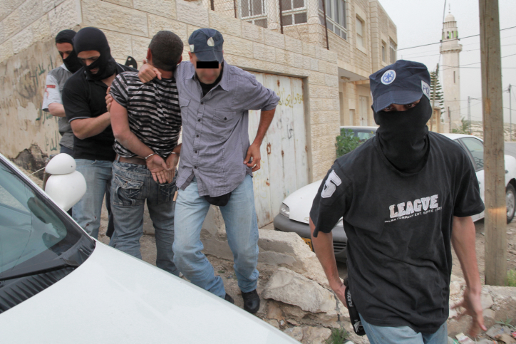Masked Yamas police officers arrest an Arab man in the Arab village of El Zayim, near Jerusalem. The man was arrested during the act of a weapon's deal taking place, in which he was involved in. Yamas is the Counter Terror Undercover unit, considered to be the most efficient of the Israeli Defence Force's special units. The unit was founded in the beginning of the 90's when the Intifada began. The undercover unit's mission is to find and dismantle Palestinian terror and heavy crime infrastructure in Israel and the West Bank. March 14, 2010. Photo by Nati Shohat/Flash90.  *** Local Caption *** ??? ?????? ???????? ??? ????? ??????  ????  ???? ???