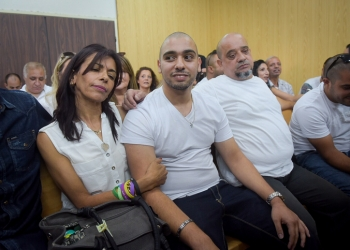 IDF Sgt. Elor Azaria, the Israeli soldier, who shot dead a disarmed and injured Palestinian attacker in the West Bank city of Hebron on March 24, 2016, sits at the courtroom as he arrives to hear the decision on his appeal at the Kirya military base in Tel Aviv, on July 30, 2017. Photo by Avshalom Sasoni/POOL *** Local Caption *** ???? ????? ?????? ????? ???? ????? ???? ???? ????? ???? ??? ???? ????? ????? ????? ????? ?????