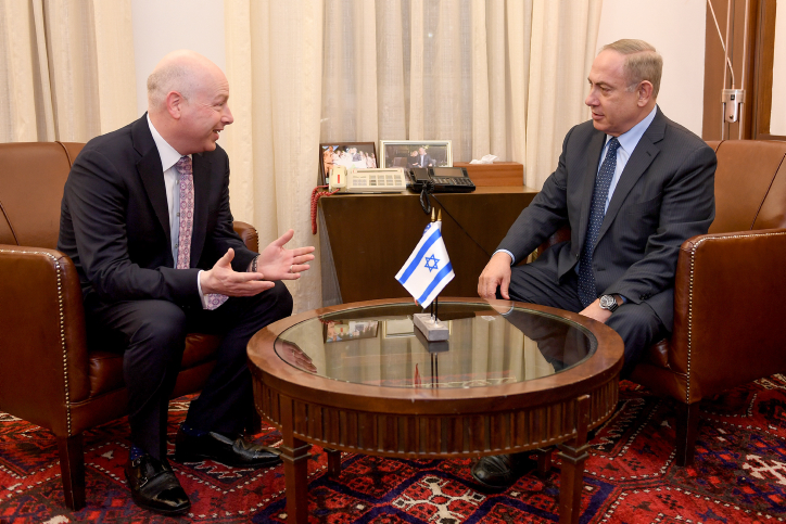 "Israeli Prime Minister Benjamin Netanyahu (R) meets with Jason Greenblatt, Donald Trump special representative for international negotiations at the Prime Minister's Office in Jerusalem, March 13, 2017. Matty Stern/U.S. Embassy Tel Aviv *** Local Caption *** ??? ??????  ?????? ??????  ???? ?????? ?? ???? ???""?  ??? ???? ???""? ?'????? ???????"