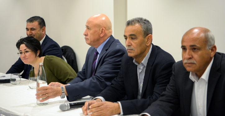 Joint Arab List member Basel Ghattas attends a press confrence together with members of the Balad political party in Nazareth, Northern Israel, March 17, 2017. Photo by Basel Awidat/Flash90 *** Local Caption *** ???? ???? ???? ??? ???? ??? ????? ???? ????? ????????