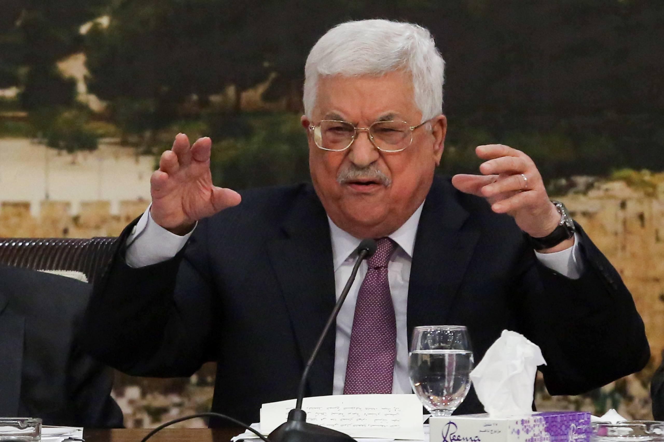 Palestinian President Mahmoud Abbas (Abu Mazen) speaks during a meeting with members of the Central Committee in the West Bank city of Ramallah on January 14, 2018. Photo by Flash90 *** Local Caption *** øîàììä îçîåã òáàñ àáå îàæï