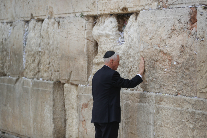 US Vice President Mike Pence visits the Western Wall, Judaism's holiest religious site, in Jerusalem's Old City, on January 23, 2018. Photo by Yonatan Sindel/Flash90 *** Local Caption *** ???? ??? ??? ???? ????? ????? ?????? ????? ????? ?????? ??? ????? ???????