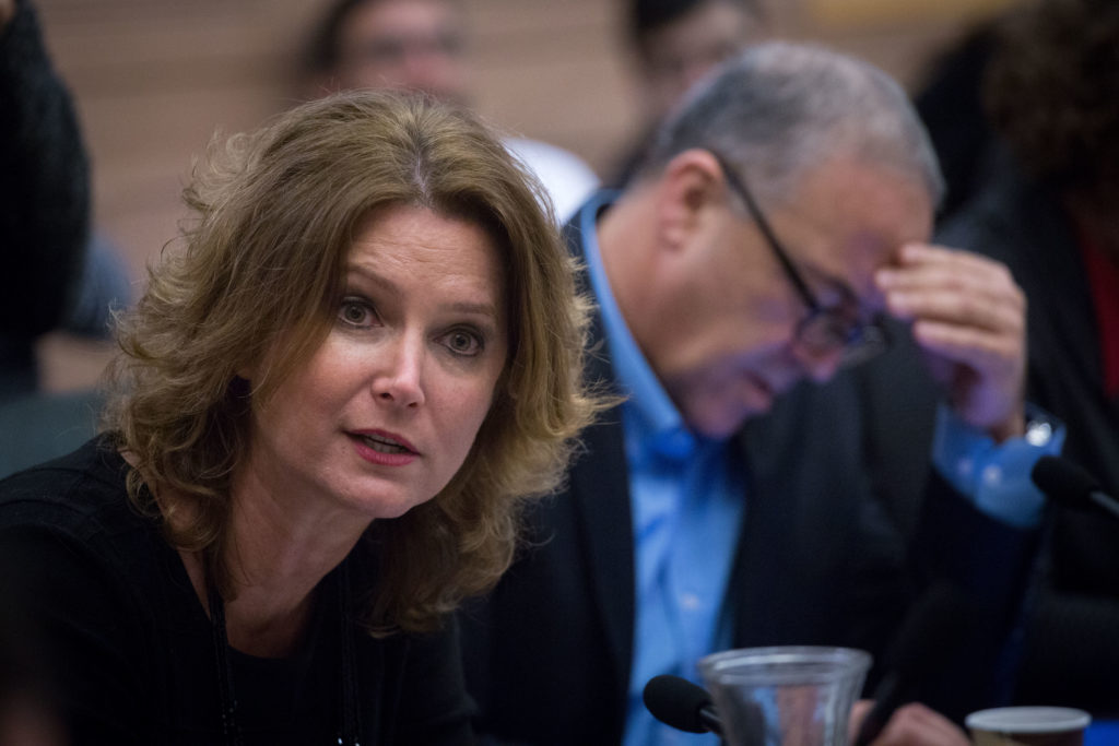 """Knesset member Michal Rozin at the Interior Affairs committee meeting discussing the """"Supermarkets Bill"""" proposal that would force municipalities to close shops on Saturdays, the Jewish day of rest, at the Knesset on January 1, 2018. Photo by Miriam Alster/Flash90 *** Local Caption *** כנסת ועדת פנים מיכל רוזין חוק המרכולים"""