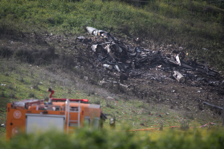 View of the remains of an F-16 plane crashed early this morning near the Israeli town of Harduf in northern Israel, on February 10, 2018. Israeli Air Force F-16 jets were sent to Syria following an invasion of an Iranian drone. Syrian forces fired missiles forcing the pilots of on F-16 to eject themselves. Photo by Hadas Parush/Flash90 *** Local Caption *** ???? ?? 16 ??????? ????? ????? ??? ????? ????? ????? ????