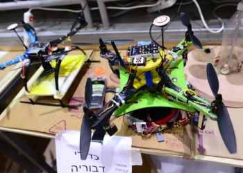 Israeli youth from schools around Israel take part at a self build drone contest at the Tichonet high school in Tel Aviv on April 24, 2018. Photo by Tomer Neuberg/Flash90 *** Local Caption *** ????? ???? ?????? ??????? ????? ????????? ???