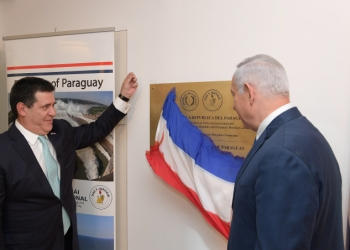 Prime Minister Benjamin Netanyahu (R) and Paraguayan President Horacio Cartes at the official opening ceremony of the Paraguay embassy in Jerusalem on May 21, 2018. Photo by Amos Ben Gershom/GPO  *** GPO HANDOUT EDITORIAL USE ONLY/NO SALES*** *** Local Caption ***  ??????? ??? ?????? ?????? ??? ????? ????? ???? ???????