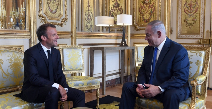 Prime Minister Benjamin Netanyahu meets with French President Emannuel Macron, at the Élysée Palace in Paris, France, on June 5, 2018. Photos by Haim Zach/GPO *** Local Caption *** ??? ?????? ?????? ?????? ???? ?? ???? ???? ?????? ????? ?????? ???? ????