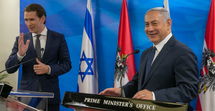 Prime Minister Benjamin Netanyahu meets with Chancellor of Austria, Sebastian Kurz at the Prime ministers office in Jerusalem on June 11, 2018. Photo by Ohad Zwigenberg/POOL YEDIOTH AHRONOTH *** POOL PICTURE, EDITORIAL USE ONLY/NO SALES *** *** Local Caption *** ??????? ?????? ?????? ??? ????? ????? ???????? ????