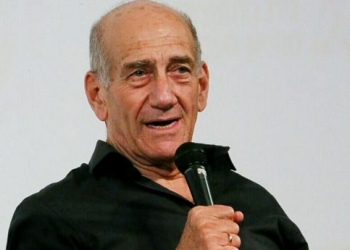 Former Prime Minister Ehud Olmert speaks during a conference in Tel Aviv on February 7, 2018. Photo by Flash90 *** Local Caption *** ???? ??????  ???? ?????? ??? ????