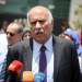 Head of the Palestinian Football Association Jibril Rajoub speaks during a press conference in front of Argentinian representative office in the West Bank city of Ramallah, Sunday, June 3, 2018. Photo by Flash90  *** Local Caption *** ?'????? ??'??