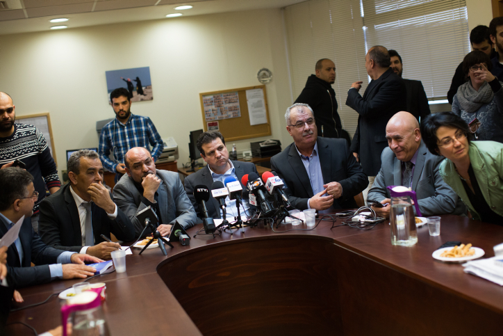 Leader of the Joint Arab list, Ayman Odeh leads the weekly Joint Arab list meeting at the Knesset, Israel's parliament in Jerusalem on February 8, 2016. Photo by Yonatan Sindel/Flash90 *** Local Caption *** ?????? ???????  ????? ????  ??? ????