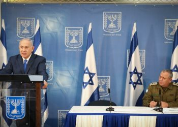 Prime Minister Benjamin Netanyahu speaks as he holds a press conference with IDF Chief of Staff Gadi Eizenkott at the Kirya government headquarters in Tel Aviv, on December 4, 2018. Photo by Noam Revkin Fenton/Flash90 *** Local Caption *** ??? ?????? ?????? ?????? ????? ???????? ?????? ?? ???? ??? ???????? ????? ???? ??????