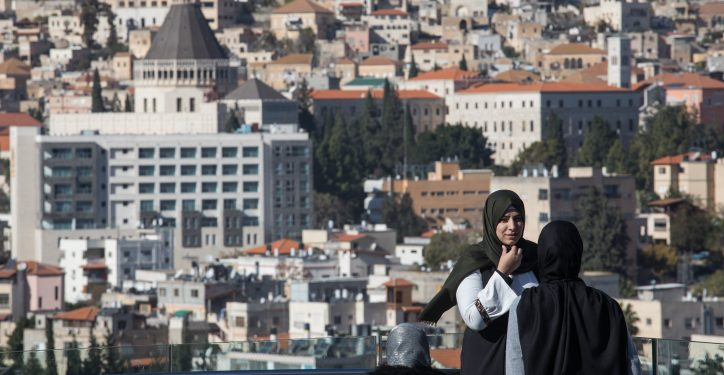 Muslim women seen over a view of the Northern Arab Israeli city of Nazareth, on December 9, 2017. Photo by Nati Shohat/Flash90 *** Local Caption *** ???? ???????? ??? ????? ??????? ????
