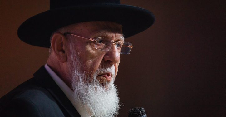 "Shas spiritual leader Rabbi Shalom Cohen speaks at a Shas conference for the jewish holiday of Sukkot in Jerusalem on September 27, 2018. Photo by Aharon Krohn/Flash90 *** Local Caption *** ?? ????? ????? ?? ?????? ?""? ????? ????? ?????? ???? ??? ?? ???"