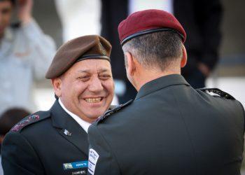 Outgoing IDF Chief of Staff, Gadi Eizenkott, with incoming Chief of Staff, Aviv Kochavi, during a handover ceremony at the IDF Headquarters, the Kirya, in Tel Aviv, on January 15, 2019. Photo by Noam Revkin Fenton/Flash90 *** Local Caption *** ??? ???????? ???? ????? ????? ????? ?????