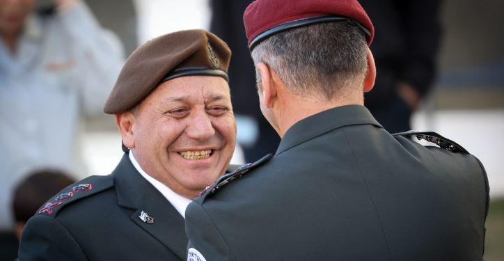 Outgoing IDF Chief of Staff, Gadi Eizenkott, with incoming Chief of Staff, Aviv Kochavi, during a handover ceremony at the IDF Headquarters, the Kirya, in Tel Aviv, on January 15, 2019. Photo by Noam Revkin Fenton/Flash90 *** Local Caption *** ??? ???????? ???? ????? ????? ????? ?????