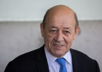 French Foreign minister Jean-Yves Le Drian visits at the Yad Vashem Holocaust Memorial museum in Jerusalem, during his official state visit in Israel. March 26, 2018. Photo by Yonatan Sindel/Flash90 *** Local Caption *** ?? ??? ???? ?? ??? ?????