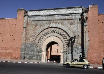 **File 12.10.2009**  Bab Agnaou is one of the nineteen gates of Marrakech, Morocco. It was built in the 12th century in the time of the Almohad dynasty. on Oct 12.2009. photo by Abir Sultan / Flash 90. *** Local Caption *** ???? ????? ???  ???  ??? ?????  ??????? ??????    ???? ??????