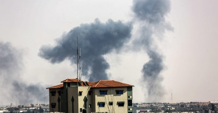 Smoke rises after Israel carried out an airstrike over  Rafah in the southern Gaza Strip,following the heavy mortar rocket fired earlier from Gaza, into Southern Israel. on May 29, 2018. Photo by Abed Rahim Khatib/ Flash90