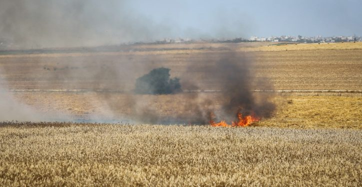 Smoke rises from Israeli agricultural fields near the Gaza Strip border, after being set on fire by a molotov cocktail kite flown over by Palestinians as they protest by the border fence on May 14, 2018. Photo by Flash90 *** Local Caption *** ????? ??? ??????? ?????? ????? ???????? ???? ????? ??? ???? ???? ????? ?????? ?????