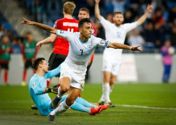 Israeli national team player Eran Zahavi celebrates a goal during the Euro 2020 qualifying football match between Israel and Austria at the Sammy Ofer Stadium, in Haifa, on March 24, 2019. Photo by Roy Alima/Flash90 *** Local Caption *** ??????? ?????? ??????? ???? 2020 ????? ????? ??????? ??? ????