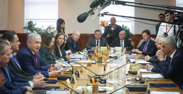 Israeli prime minister Benjamin Netanyahu leads the weekly cabinet meeting, at PM Netanyahu's office in Jerusalem . December 23, 2018. Photo by Marc Israel Sellem/POOL *** Local Caption *** ????? ????? ??? ?????? ?????? ?????? ????