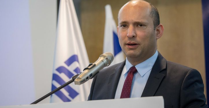 """Education Minister Naftali Bennett speaks during a press conference announcing the launch of the new campaign """"New South"""" of the New Right Political party, in Ashdod on March 26, 2019. Photo by Yonatan Sindel/Flash90 *** Local Caption *** ???  ???? ????? ??? ?? ?????? ????? ???????? ????? ???? ????? ????"""