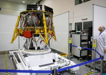 The Israeli spacecraft of the SpaceIL team's spacecraft is presented during a press conference at the Israel Aerospace facility in Yahud on July 10, 2018. Photo by Flash90 *** Local Caption *** ???? ??? ????? ??????? ?????? ??? ????? ??? ??