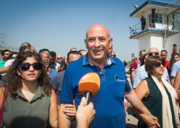 Former arab Israeli parliament member Basel Ghattas arrives to enter the Gilboa Prison, to serve his 2 year sentence on July 2, 2017. Photo by Basel Awidat/Flash90 *** Local Caption *** ??? ????? ??? ??? ??? ??? ?? ???? ????