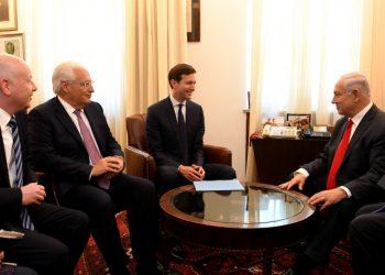 US President Donald J. Trump's Special Envoys Jared Kushner and Jason Greenblatt meet with Israeli Prime Minister Benjamin Netanyahu at the Prime Minister's Office in Jerusalem, June 21, 2017. Photo by  Matty Stern/U.S. Embassy Tel Aviv ***US EMBASSY TEL AVIV HANDOUT EDITORIAL USE ONLY/NO SALES*** *** Local Caption ***     ?????? ???????? ?? ????? ????? ?'??? ????? ??'????? ??????? ?????? ?? ??? ?????? ?????? ?????? ????? ??? ??????