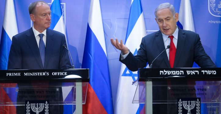 Israeli Prime Minister Benjamin Netanyahu, and Nikolai Patrushev secretary of the Russian Security Council deliver a statement at the Prime Minister's Office  in Jerusalem on, June 24, 2019. Photo by Marc Israel Sellem/POOL *** Local Caption *** ??? ?????  ?????? ??????  ????? ?????? ??????? ?????  ?????  ??????? ??????  ???? ??? ??????