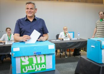 Meretz party chairman Nitzan Horowitz casts his vote at a Meretz party polling station in Tel Aviv on July 11, 2019, Meretz party members went today to the polls to elect the party's list for the upcoming general elections. Photo by Flash90 *** Local Caption *** ??? ???????? ????? ??????? ???? ????? ???? ??????? ???? ??????
