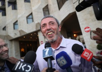 United Right party chairman Rafi Peretz speaks with the media as he meets with New Right party member Naftali Bennet, before announcing their union ahead of the elections, at the Ramada Hotel in Jerusalem, on July 28, 2019. Photo by Yonatan Sindel/Flash90 *** Local Caption *** ??? ??? ????? ??? ????? ??? ????? ????? ????? ???? ????? ?????? ???? ???? ???????