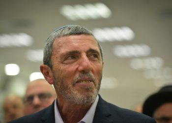 Rafi Peretz, leder of the Jewish Home party, the current iteration of what used to be Israel's National Religious Party, on an event to display a pre-election alliance with Otzma Yehudit in Petah Tikva, Feb 20, 2019. Photo by Yehuda Haim/Flash90 *** Local Caption *** ?????? ?????? ?????? ?????? ???? ?????? ???? ?????? ????? ????? ??? ??? ???? ??????