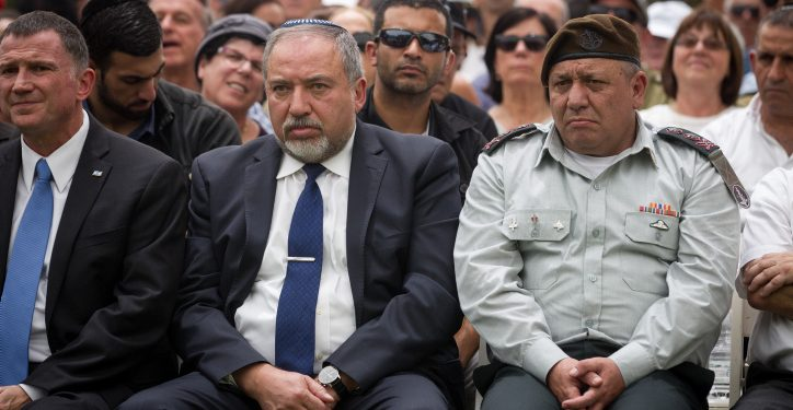 IDF Chief of Staff Gadi Eisenkot and Defense Minister Avigdor Liberman attend a ceremony marking the 10th anniversary since the Second Lebanon War at the Mount Herzl military cemetery in Jerusalem on July 19, 2016. Photo by Miriam Alster/Flash90 *** Local Caption *** ????? ????? ????? ????? ??? ??????? ????? ????? ????? 10 ???? ????? ?? ?????? ??????? ??????