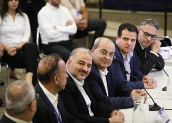 Representatives of the Arab Joint List party at the election committee meeting where political parties running for a spot in the upcoming Israeli elections, arrive to present the party list for the September 2019 elections, at the Knesset, the Israeli parliament in Jerusalem, on August 1, 2019. Photo by Noam Revkin Fenton/Flash90 *** Local Caption *** ???? ?????? ????? ???? ??????? ????  ???? ?????? ?????? ?????? ??????? ?????