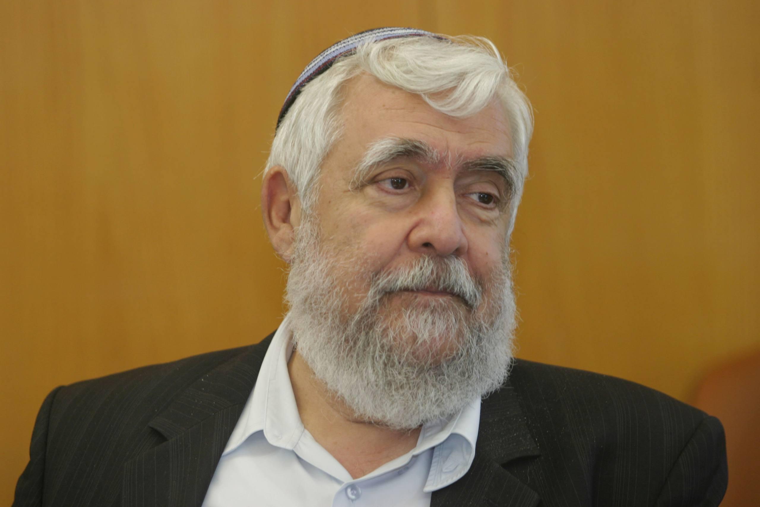 Portrait of Israeli Knesset member Yitzhak Levy during Knesset meting . Photo by Orel Cohen/FLASH90  *** Local Caption *** ôåøèøè çáø ëðñú éöç÷ ìåé
