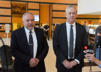 Blue and White party chairman Benny Gantz and Israel Beytenu party chairman Avigdor Liberman give a joint statement to the media after a meeting for negotiations toward building anew government, at the Kfar Maccabia Hotel in Ramat Gan, on November 14, 2019. Photo by Avshalom Sassoni/Flash90 *** Local Caption *** ????? ????? ????? ????? ??? ???? ?????? ???? ????? ???????? ????? ????? ???? ??? ??? ???